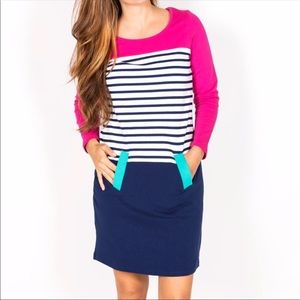 Dress Blue and Pink Bella Midi Medium